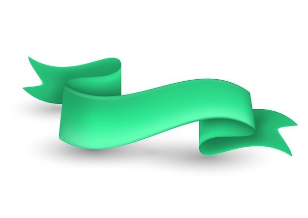 背景に緑色のリボンバナー Premiumベクター