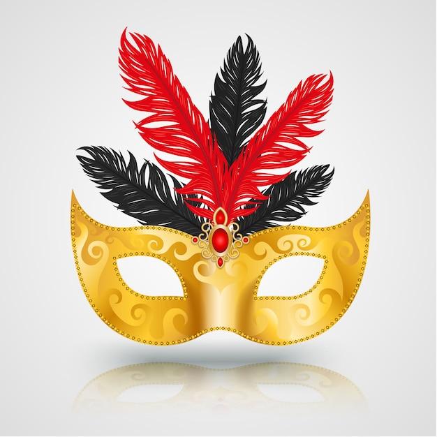羽を持つゴールドマスクカーニバル Premiumベクター