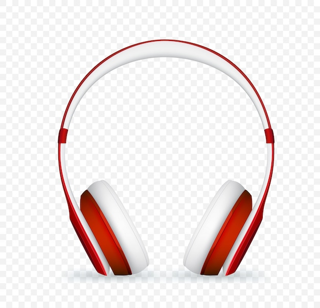 ベクトル現実的な赤いヘッドフォン。 Premiumベクター