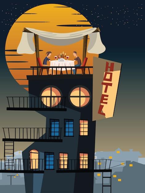 屋上のベクトル図に夕食 Premiumベクター