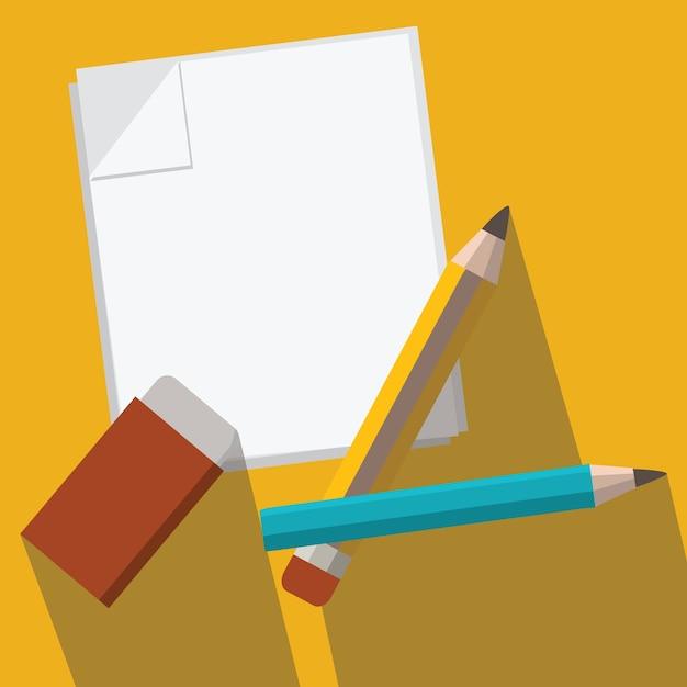 鉛筆と紙ベクトル Premiumベクター