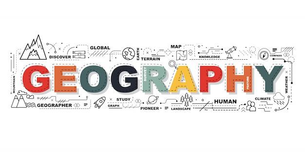 Слово география баннер Premium векторы