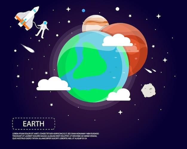 太陽系のイラストデザインの地球火星と木星 Premiumベクター