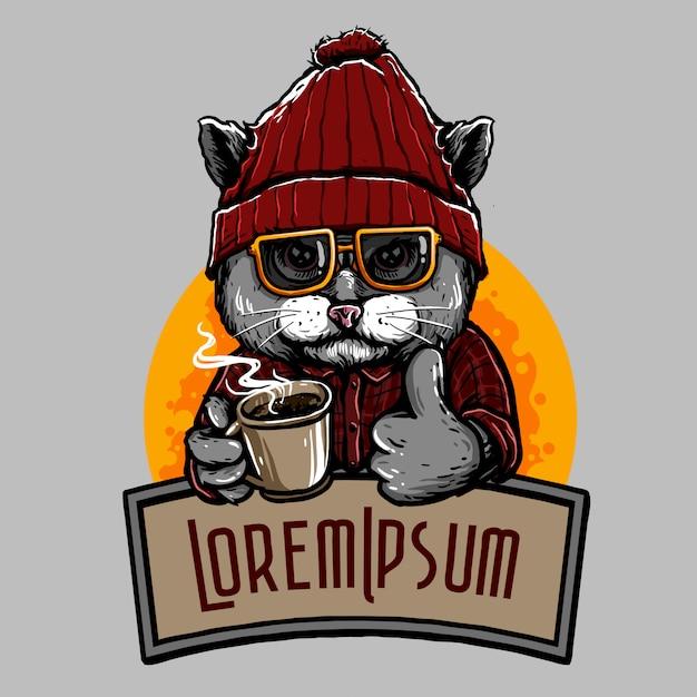 コーヒー猫 Premiumベクター