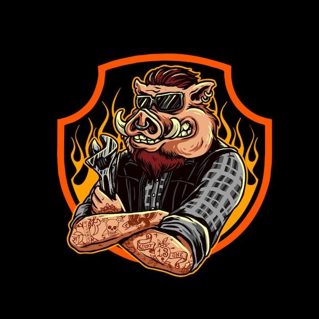 メカニック豚のロゴ Premiumベクター