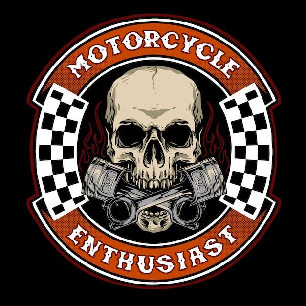 オートバイのベース商品またはロゴサービスガレージに適したピストン付きスカルバイク Premiumベクター