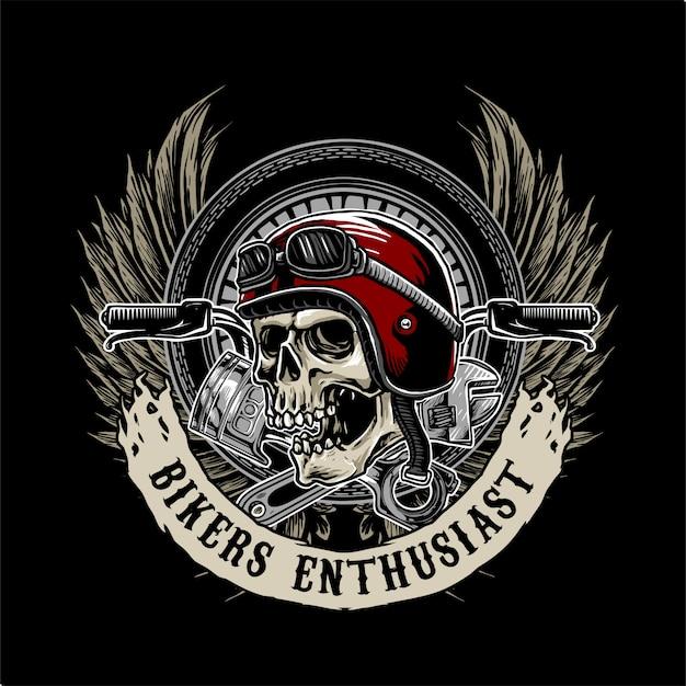バイカーの頭蓋骨のロゴ Premiumベクター