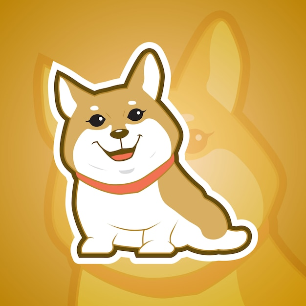 Корги собака талисман Premium векторы