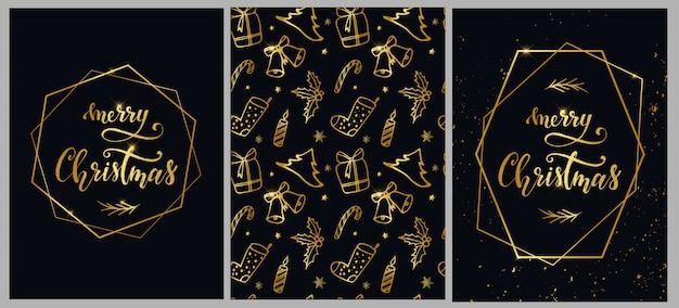 Набор из трех рождественских иллюстраций Premium векторы