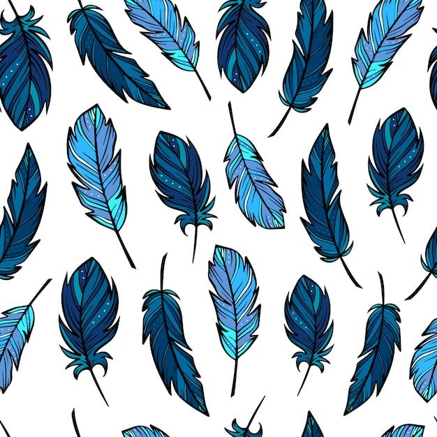 手描きの羽とかわいいのシームレスパターン Premiumベクター
