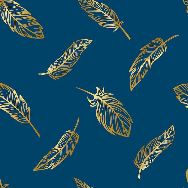 金の羽のかわいい自由奔放に生きるシームレスパターン Premiumベクター