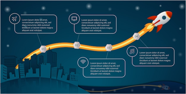 Ракета запускает концепцию инфографики для бизнеса, стартапа, образования, технологий и презентаций Premium векторы