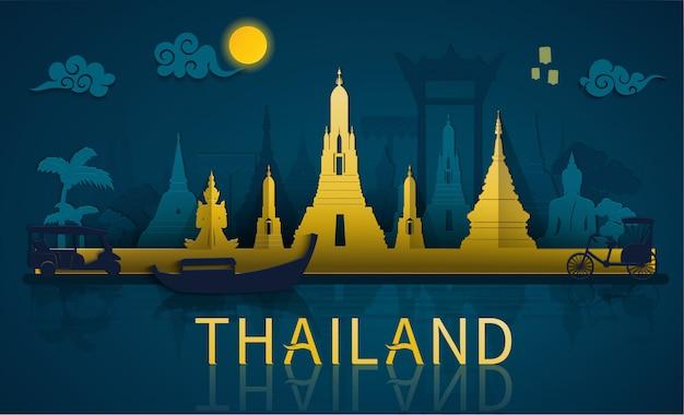Путешествие по таиланду к знаменитым достопримечательностям и туристическим достопримечательностям таиланда в стиле бумажной резки Premium векторы