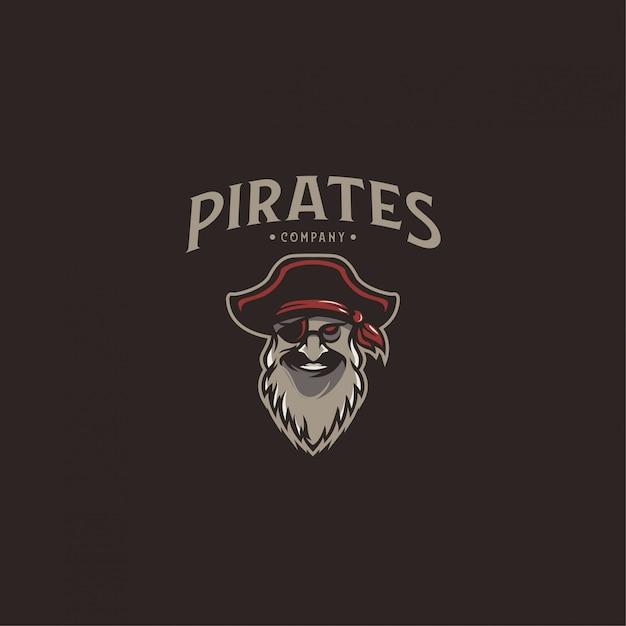 Пиратский логотип Premium векторы
