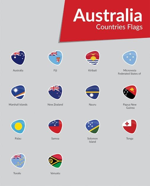 オーストラリアの旗のアイコンのコレクション Premiumベクター