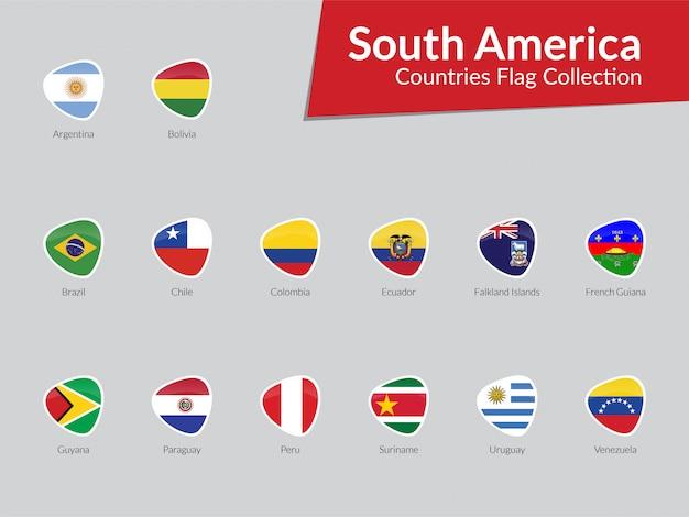 南アメリカの旗のアイコンのコレクション Premiumベクター