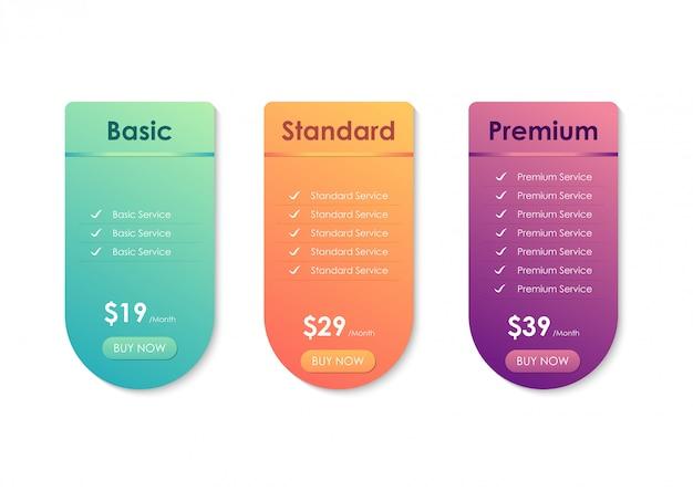 Таблица сравнения цен, шаблон таблицы цен для веб-сайта, приложений и бизнеса Premium векторы