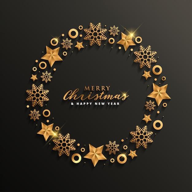 金色のエレガントなクリスマスと新年のデザイン Premiumベクター