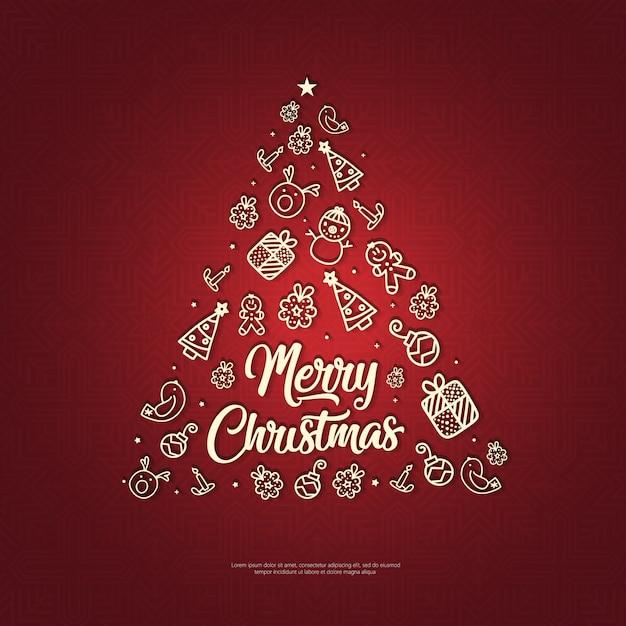 マンダラと赤の背景に手描きの要素のクリスマス Premiumベクター