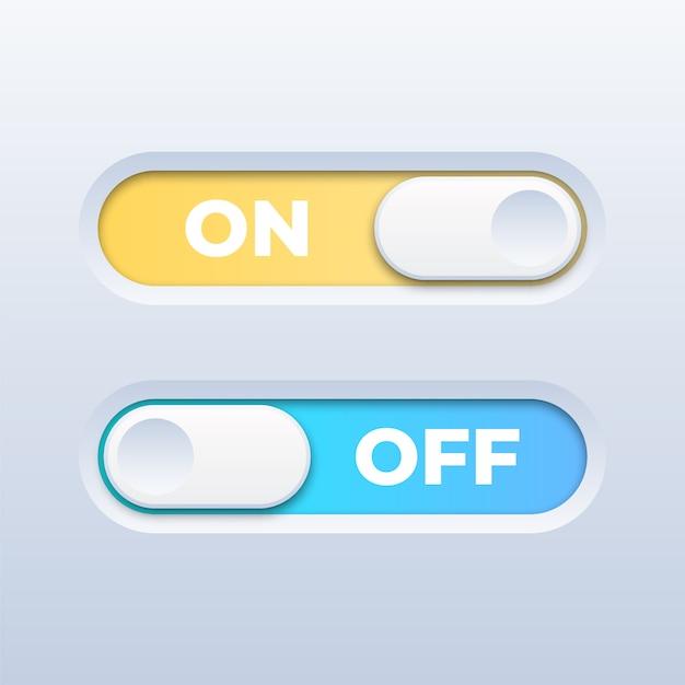 白地にカラフルなオン/オフ切り替えスイッチボタン Premiumベクター