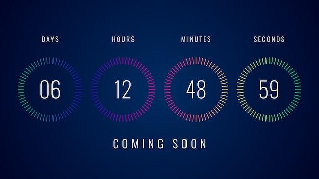 カラフルなデジタルカウントダウンクロックカウンタータイマーのイラストが近日公開予定 Premiumベクター