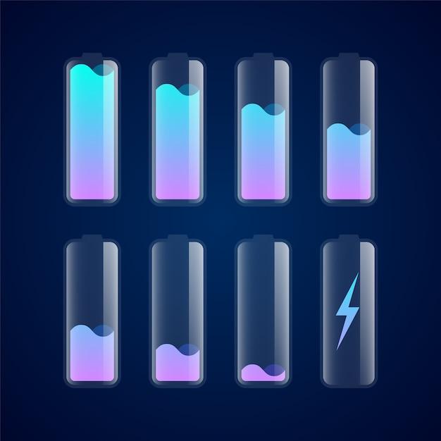 Установить разные уровни заряда батареи Premium векторы