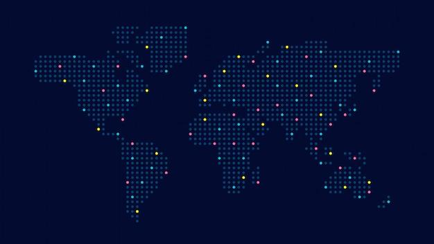 Пунктирная цветная карта мира Premium векторы