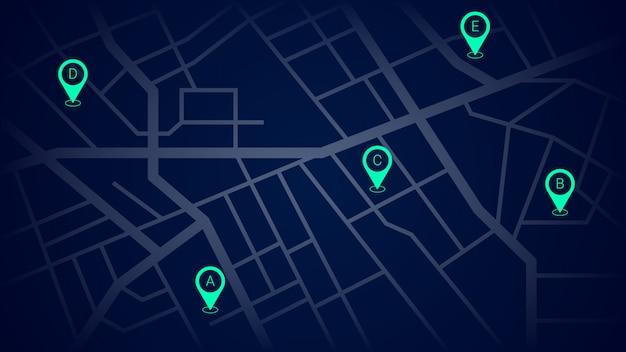 シティストリートマップの緑のナビゲーションピン Premiumベクター