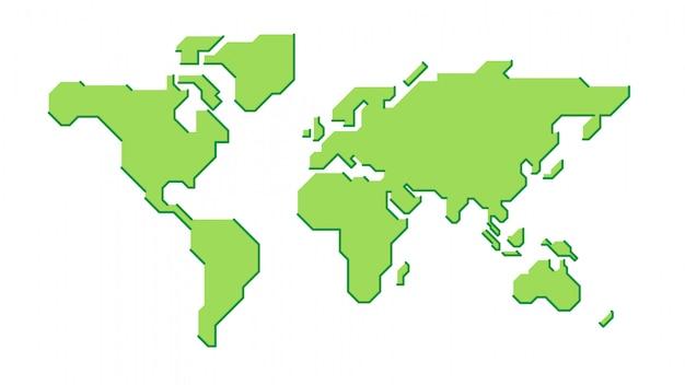 様式化された緑の世界地図 Premiumベクター