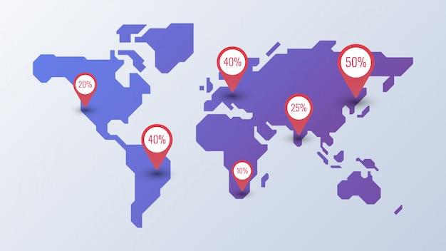 世界地図インフォグラフィックテンプレート Premiumベクター