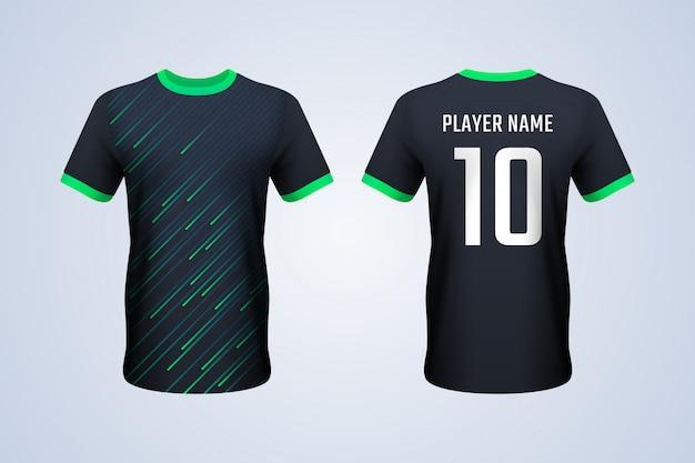 黒と緑のストリップサッカージャージーテンプレート Premiumベクター