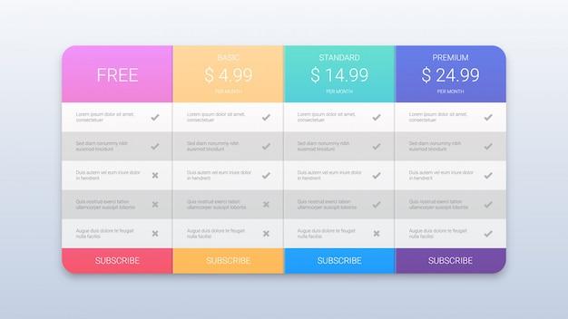 Шаблон красочных тарифных планов для веба Premium векторы