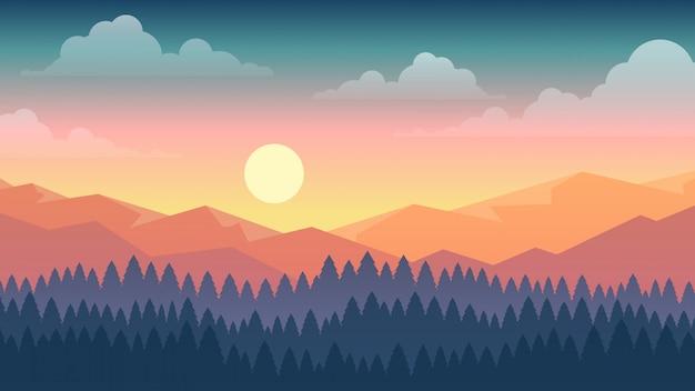 Векторная иллюстрация закат сцены в природе с горы и лес Premium векторы