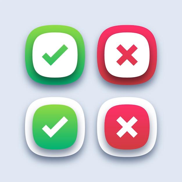 緑のチェックマークと赤い十字アイコン Premiumベクター