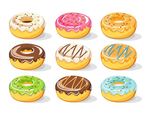 Набор сладких пончиков, иллюстрация Premium векторы