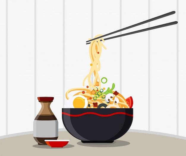 伝統的な麺入り中華スープ、中華丼アジアンヌードルスープ Premiumベクター