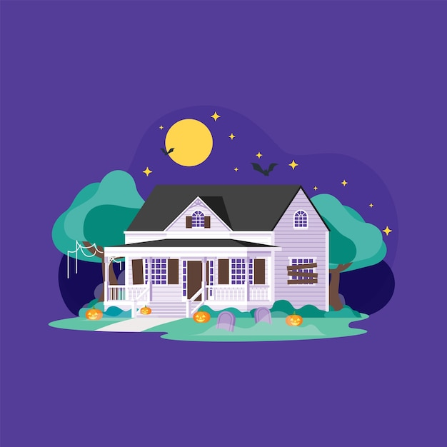 夜の家のハロウィーンの装飾 Premiumベクター