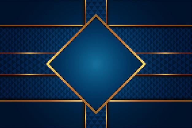 ゴールデンラインテンプレートと豪華なグラデーションブルーの背景のモダンな抽象 Premiumベクター