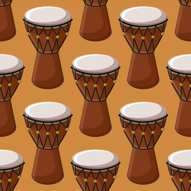 トルコ語またはアフリカの伝統的なドラムのシームレスなパターン。 Premiumベクター