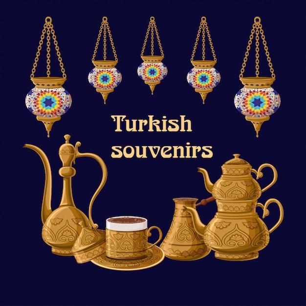 提灯とトルコのお土産カード Premiumベクター