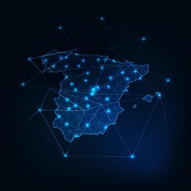 星と線の抽象的なフレームワークとスペイン地図のアウトライン。 Premiumベクター