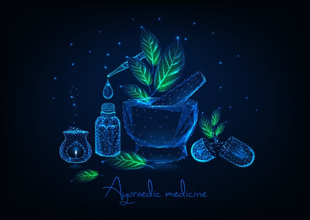 モルタル、葉、エッセンシャルオイル、ハーブピル、アロマランプのアーユルヴェーダ医学概念。 Premiumベクター