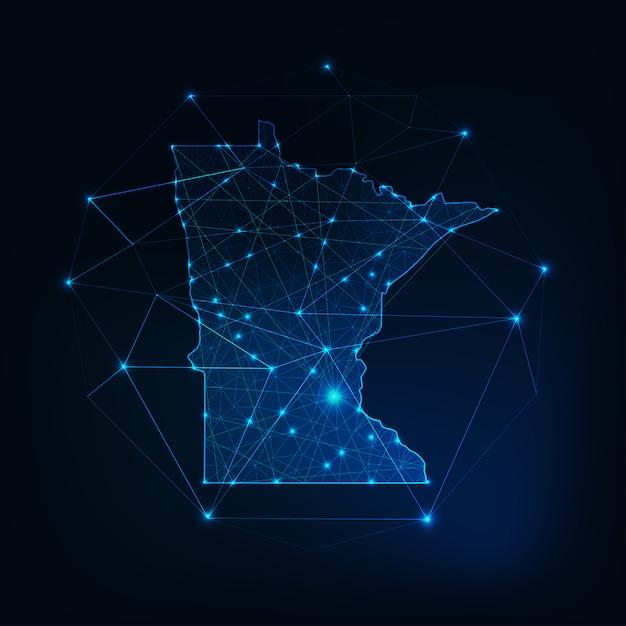 ミネソタ州アメリカ地図輝くシルエットアウトラインは、低多角形で作られています。 Premiumベクター