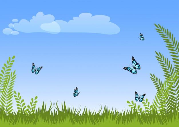 Летом природный луг пейзаж фон с зеленой травой, растениями, голубые бабочки и небо. Premium векторы