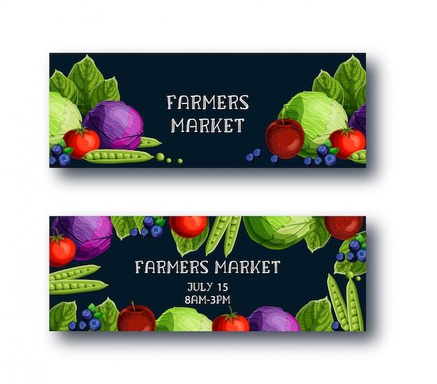 農民市場のバナー入りキャベツ、エンドウ豆、トマト、アップル、ブルーベリー、テキスト Premiumベクター