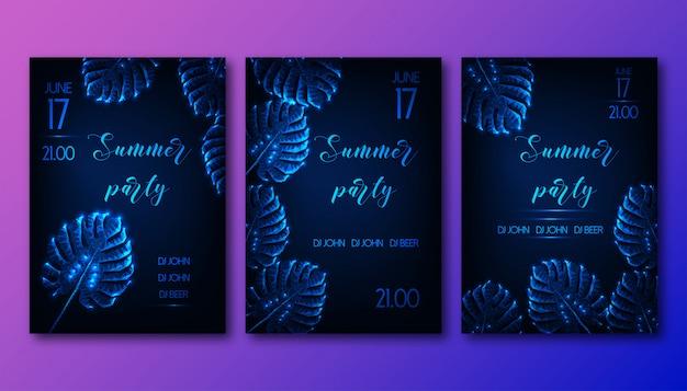 グロー低ポリゴンモンステラの葉入り未来的な夏のパーティーのチラシ Premiumベクター