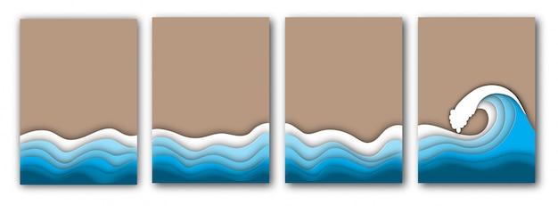 紙カット海や海の波と砂のチラシと夏のビーチ Premiumベクター
