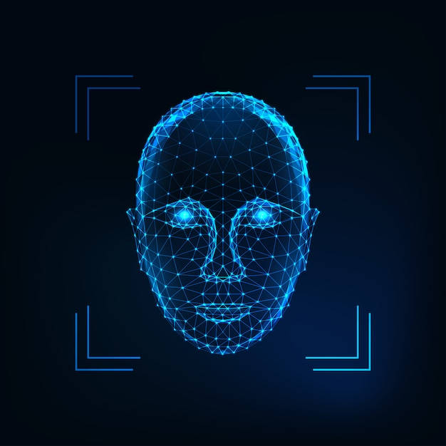 バイオメトリック個人識別、顔認識の概念未来的な低多角形の人間の顔 Premiumベクター