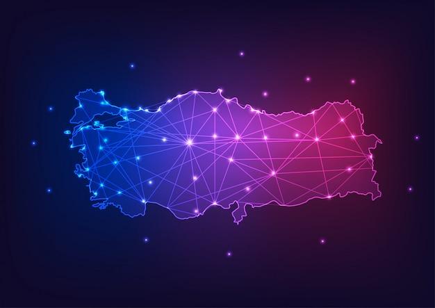 Контур карты турции с рамками звезд и линий абстрактный. связь, концепция связи. Premium векторы