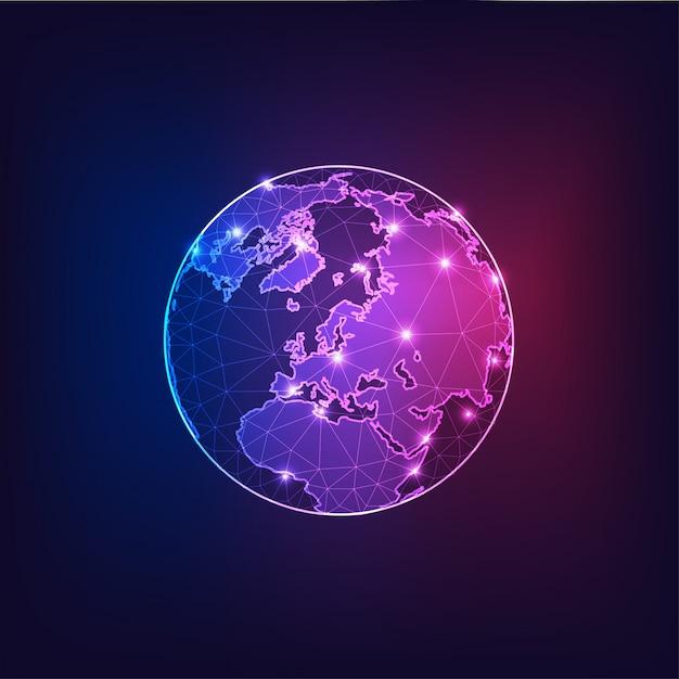 大陸と宇宙から見た地球上のヨーロッパ世界の概要の概要。 Premiumベクター